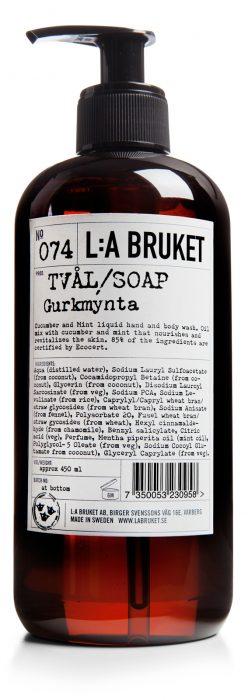 074 flytende såpe gurkmynte 450ml LA Bruket