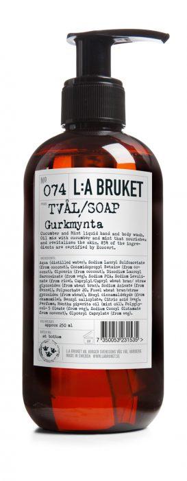 074 flytende såpe gurkmynte 250ml LA Bruket