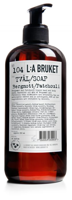 104 flytende såpe bergamott/patchouli 450ml LA Bruket