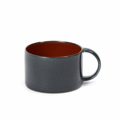 Kaffekopp mørkblå/rust
