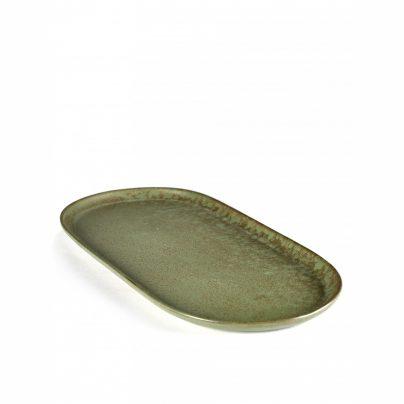 Tallerken avlang 17×35,5cm camogrønn