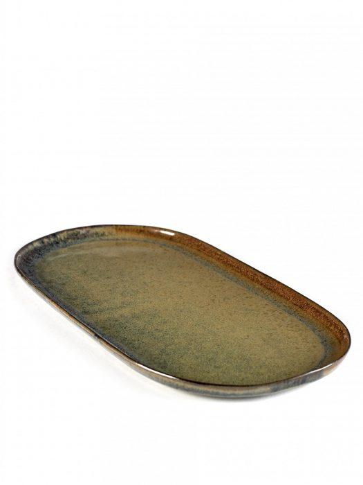 Tallerken avlang 17×35,5cm indigrå
