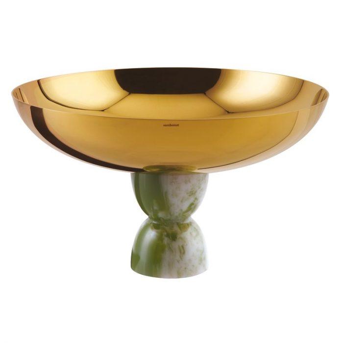 Bolle på stett Ø26cm gold/green jade resin