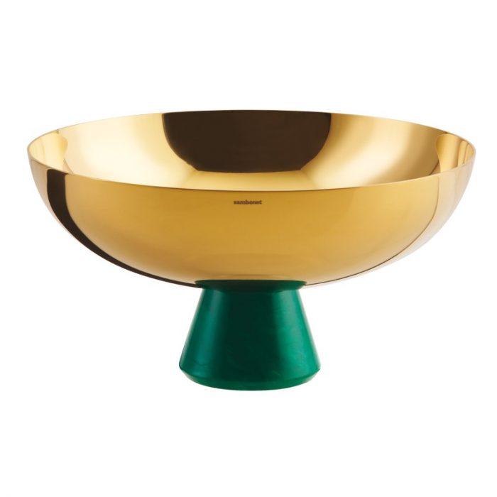 Bolle på stett Ø20,5cm gold/green malachite resin