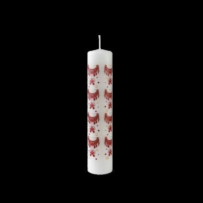 Kalenderlys rød/hvit Ø5cm