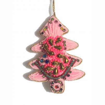 Juletre rosa/perler/krystaller