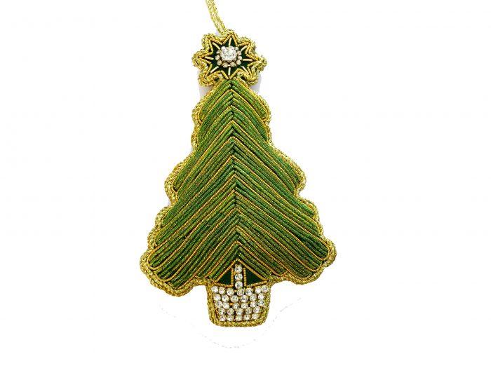 Juletre grønn/perler/krystaller