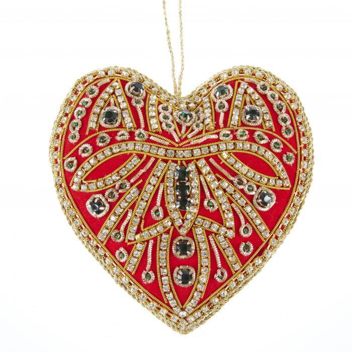 Hjerte rød/smaragd/krystaller